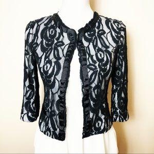 Black Lace Jacket with Ivory Lining